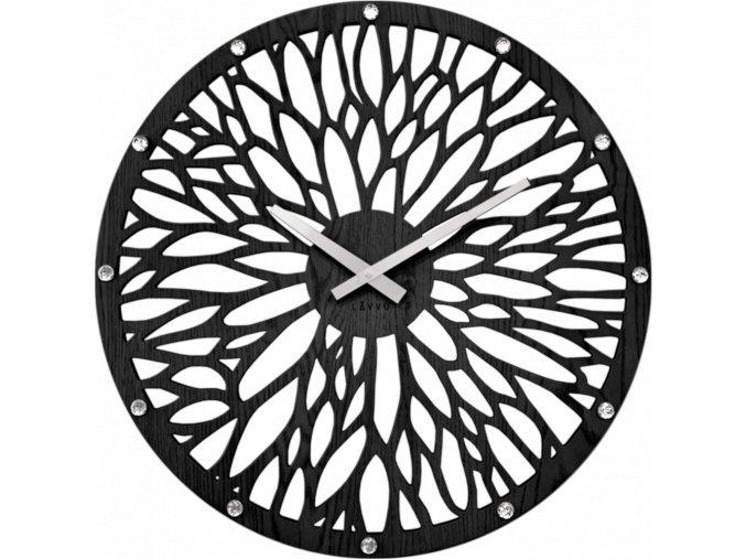 Impozantní černé dřevěné hodiny LAVVU WOOD