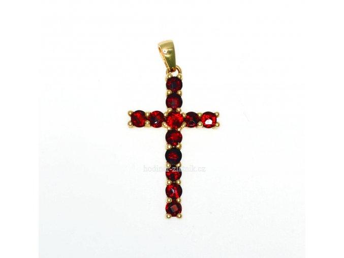 zlatý přívěsek křížek s granaty