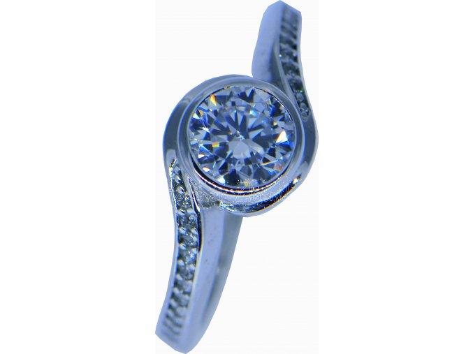 prsten z bílého zlata se zirkony velikost: