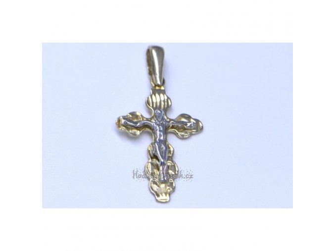 zlatý přívěsek křížek s Ježíšem 2592
