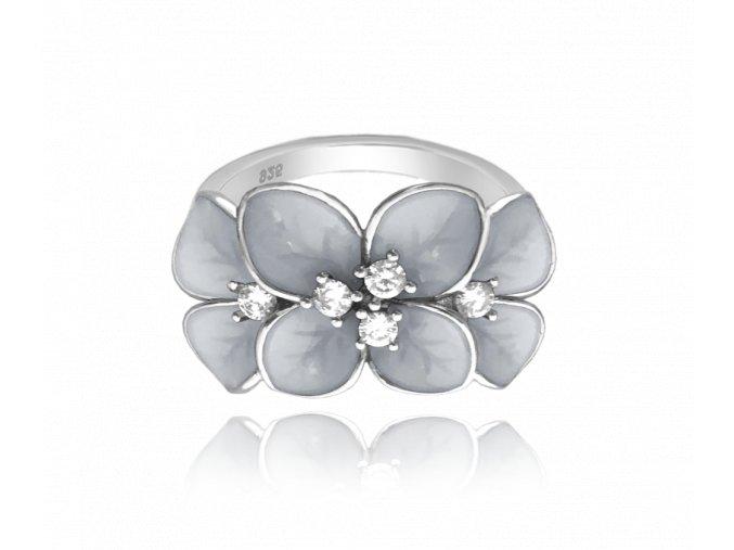 Rozkvetlý stříbrný prsten MINET FLOWERS s bílými zirkony vel. 57
