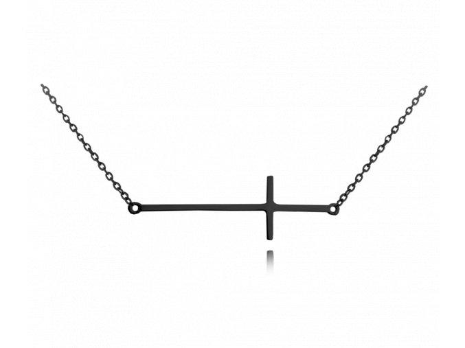 Černý stříbrný náhrdelník MINET KŘÍŽ ležatý