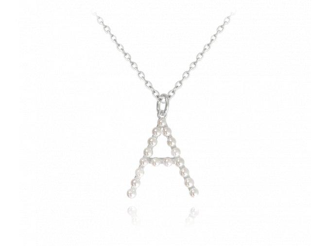 """Stříbrný náhrdelník MINET písmeno """"A"""" s perličkami"""