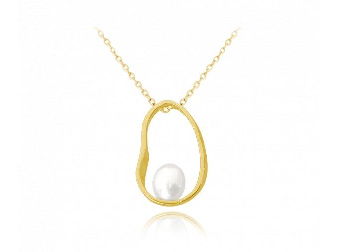 Pozlacený stříbrný oválný náhrdelník MINET s perlou