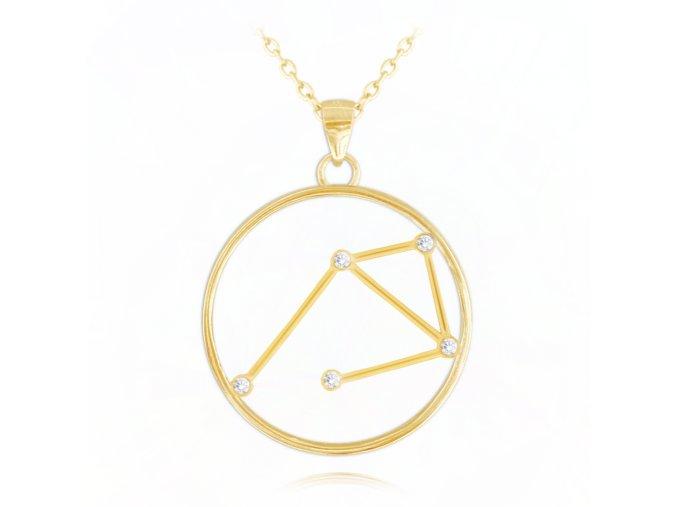 Pozlacený náhrdelník MINET Stars znamení VÁHY Czech Crystal