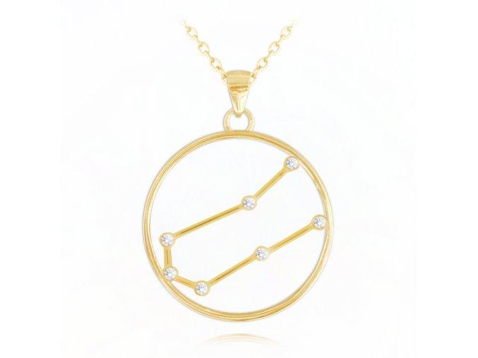 Pozlacený náhrdelník MINET Stars znamení BLÍŽENCI Czech Crystal