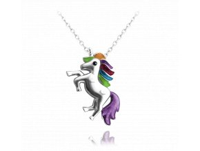 Stříbrný náhrdelník MINET JEDNOROŽEC v barvách duhy