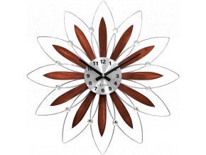 Dřevěné stříbrné hodiny LAVVU CRYSTAL Flower s čísly