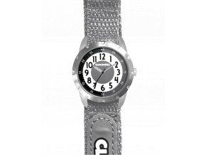 Šedé reflexní dětské hodinky na suchý zip CLOCKODILE REFLEX