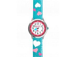 Tyrkysové třpytivé dívčí dětské hodinky se srdíčky CLOCKODILE HEARTS