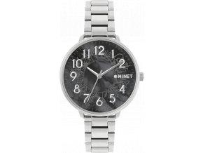 Stříbrno-černé dámské hodinky MINET PRAGUE Black Flower s čísly