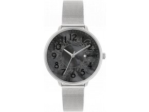 Stříbrné dámské hodinky MINET PRAGUE Black Flower Mesh s čísly