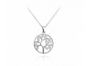 Stříbrný náhrdelník MINET STROM ŽIVOTA s bílými zirkony