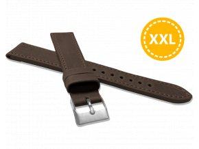 XXL Prodloužený prošitý tmavě hnědý řemínek LAVVU SPORT z luxusní kůže Top Grain - 20 XXL