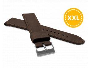 XXL Prodloužený prošitý tmavě hnědý řemínek LAVVU SPORT z luxusní kůže Top Grain - 22 XXL