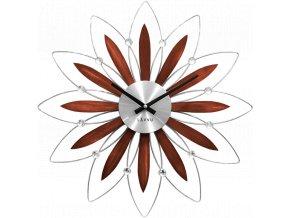 Dřevěné stříbrné hodiny LAVVU CRYSTAL Flower