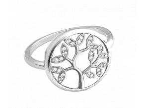 Stříbrný prsten MINET STROM ŽIVOTA s bílými zirkony vel. 52
