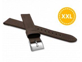 XXL Prodloužený prošitý tmavě hnědý řemínek LAVVU SPORT z luxusní kůže Top Grain - 18 XXL