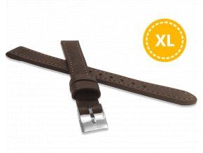 XXL Prodloužený prošitý tmavě hnědý řemínek LAVVU SPORT z luxusní kůže Top Grain - 14 XXL