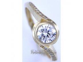 prsten ze žlutého zlata se zirkony 49