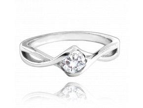 Stříbrný prsten MINET s bílým zirkonem vel. 48
