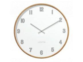 Světlé dřevěné bílé hodiny LAVVU FADE
