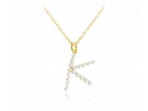 """Pozlacený stříbrný náhrdelník MINET písmeno """"K"""" s perličkami"""
