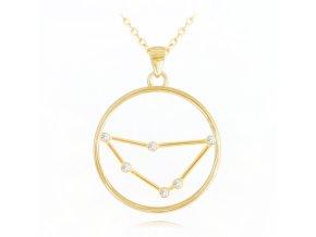 Pozlacený stříbrný náhrdelník MINET Stars znamení KOZOROH Czech Crystal