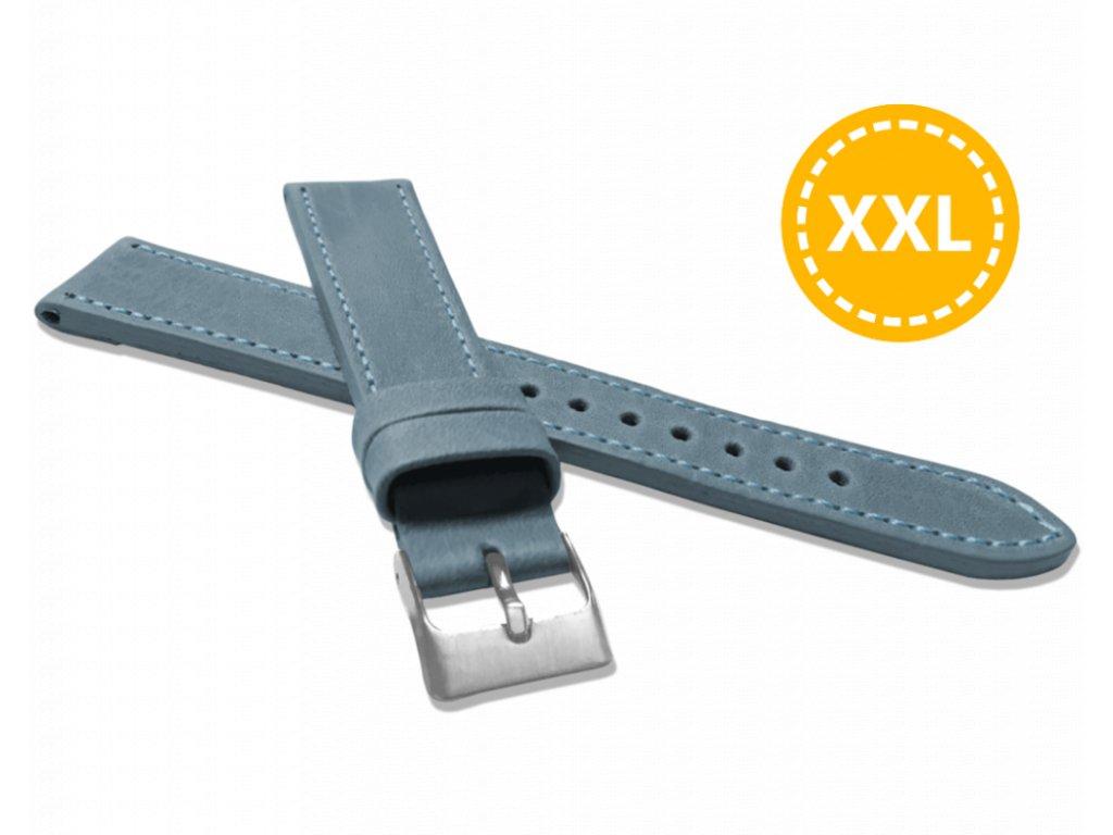 XXL Prodloužený prošitý modrý řemínek LAVVU SPORT z luxusní kůže Top Grain - 20 XXL