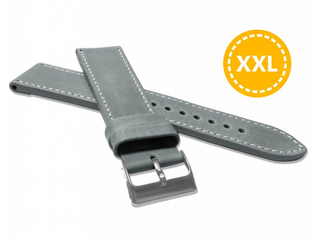 XXL Prodloužený prošitý šedý řemínek LAVVU SPORT z luxusní kůže Top Grain - 24 XXL