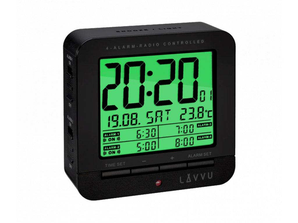 Digitální budík řízený rádiovým signálem LAVVU Black Cube
