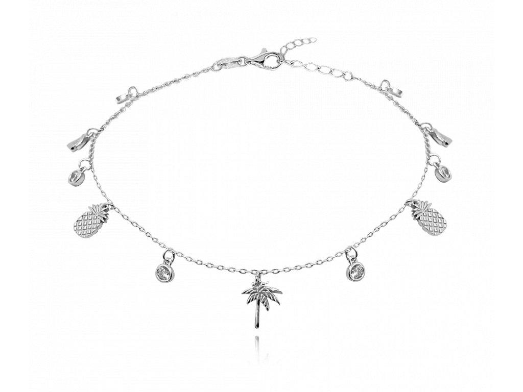 Letní stříbrný řetízek na kotník MINET - ananasy a palmy