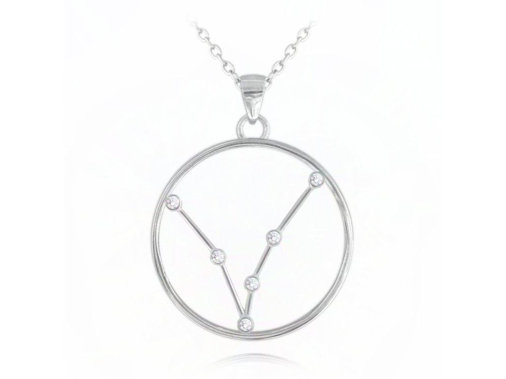 Stříbrný náhrdelník MINET Stars znamení RYBY Czech Crystal