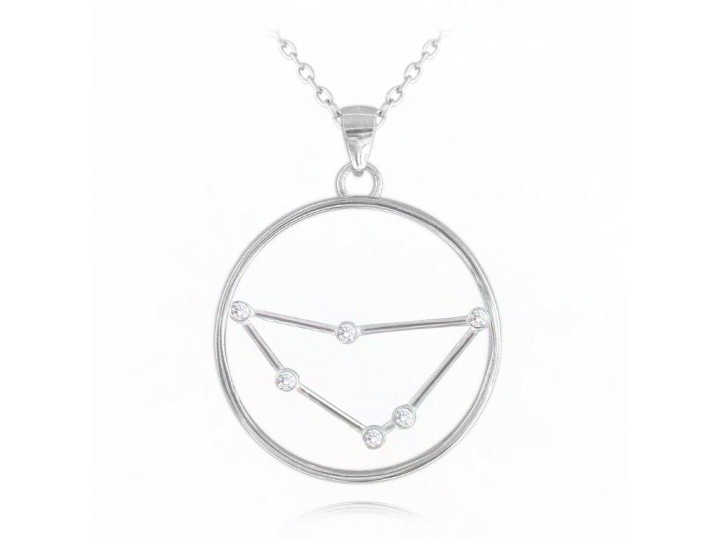 Stříbrný náhrdelník MINET Stars znamení KOZOROH Czech Crystal