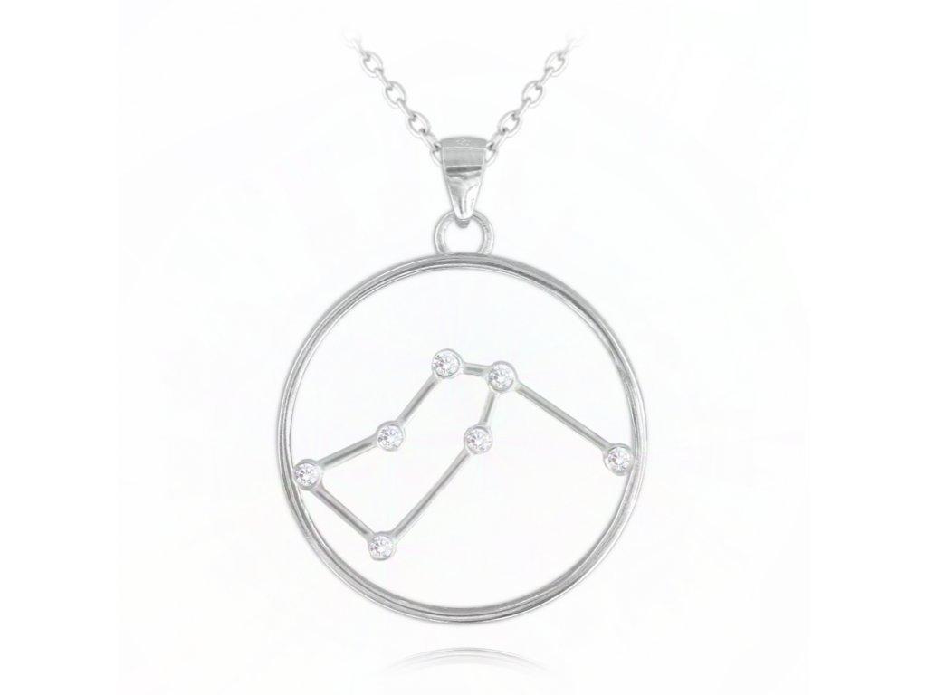 Stříbrný náhrdelník MINET Stars znamení VODNÁŘ Czech Crystal