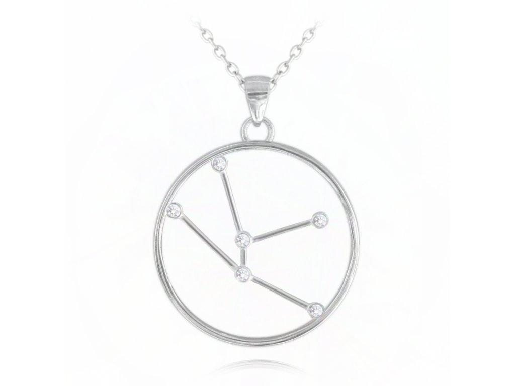 Stříbrný náhrdelník MINET Stars znamení BÝK Czech Crystal