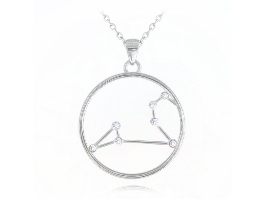 Stříbrný náhrdelník MINET Stars znamení LEV Czech Crystal