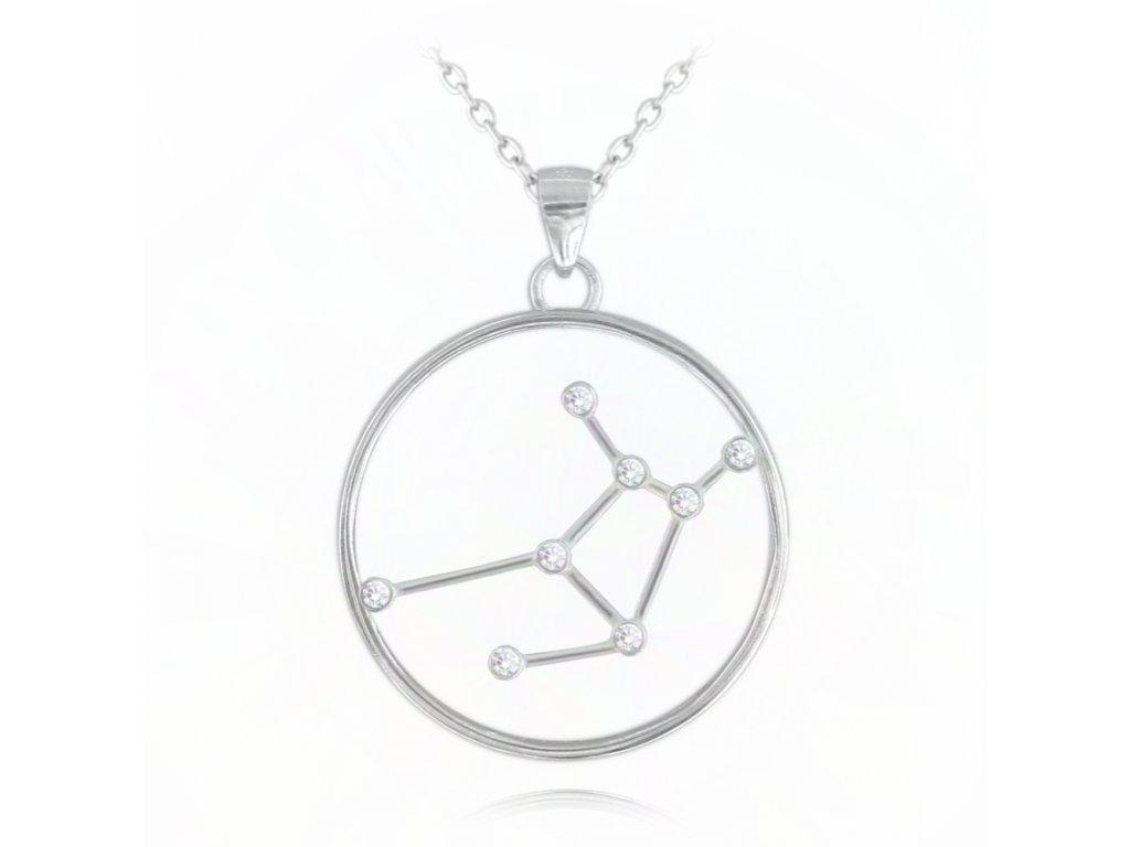 Stříbrný náhrdelník MINET Stars PANNA Czech Crystal