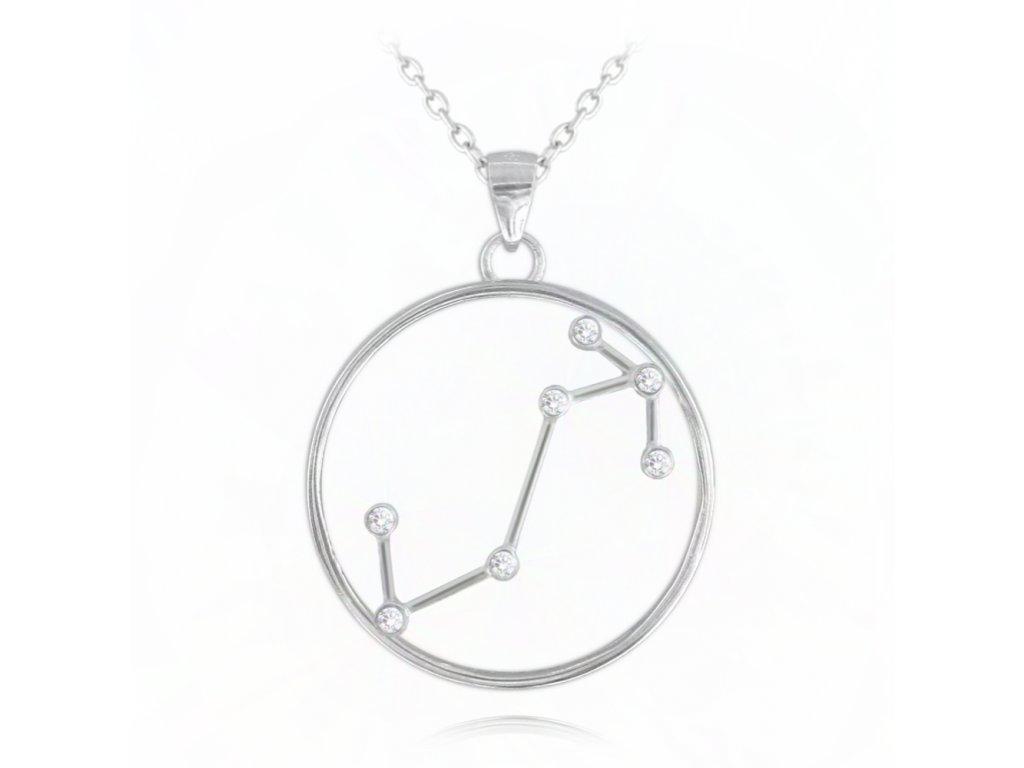 Stříbrný náhrdelník MINET Stars ŠTÍR Czech Crystal