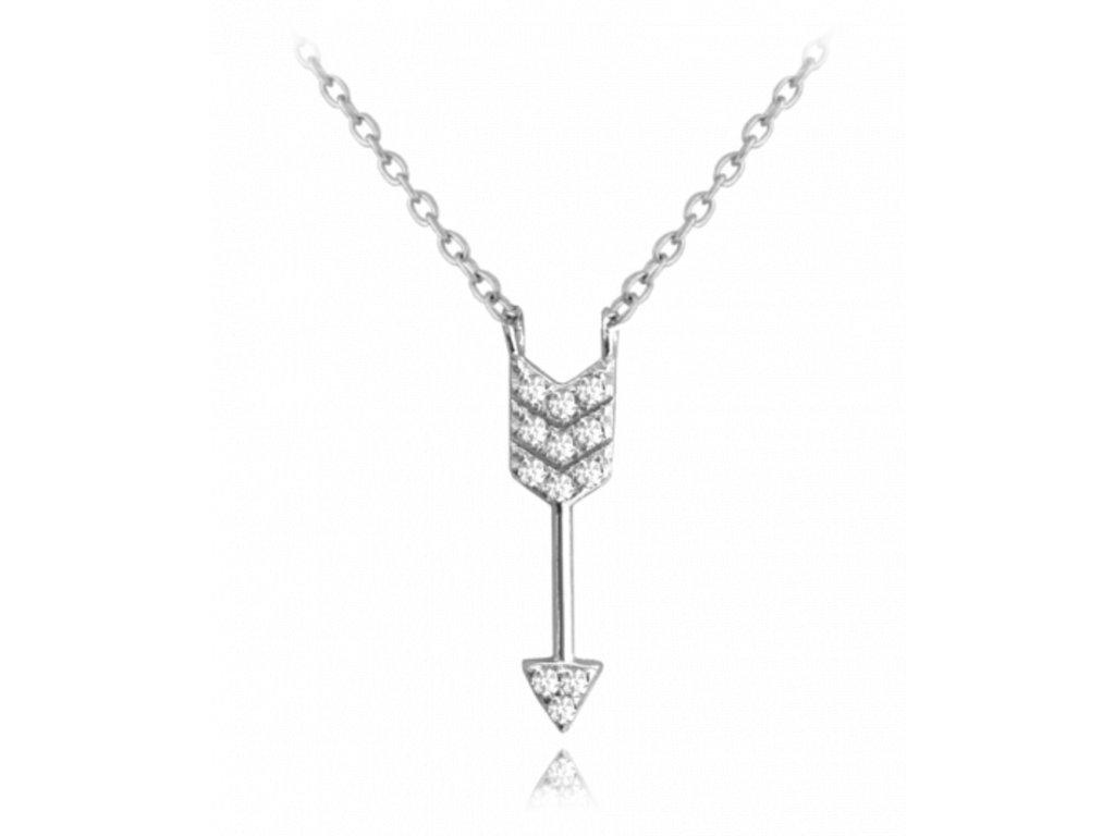 Stříbrný náhrdelník MINET ŠÍP s bílými zirkony