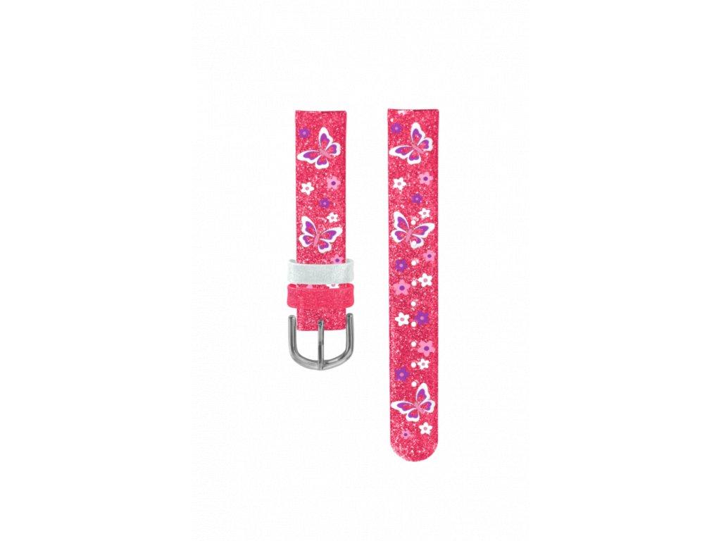 Růžový řemínek s motýly k dětským hodinkám CLOCKODILE