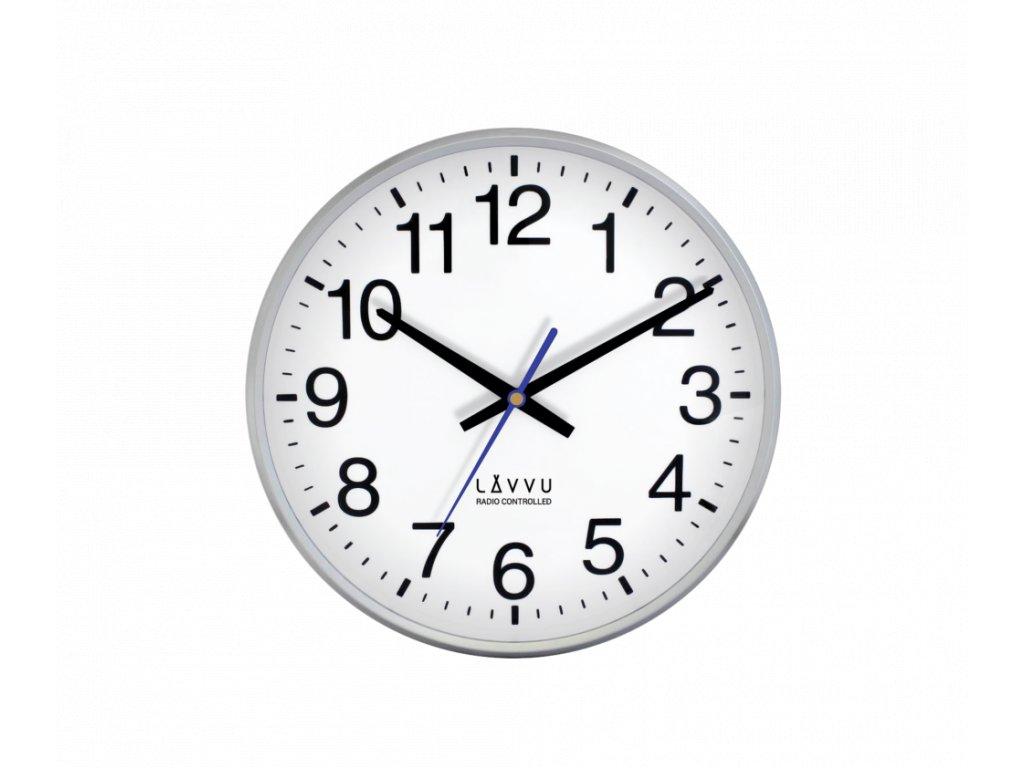 Stříbrné hodiny LAVVU FACTORY Metallic Silver řízené rádiovým signálem