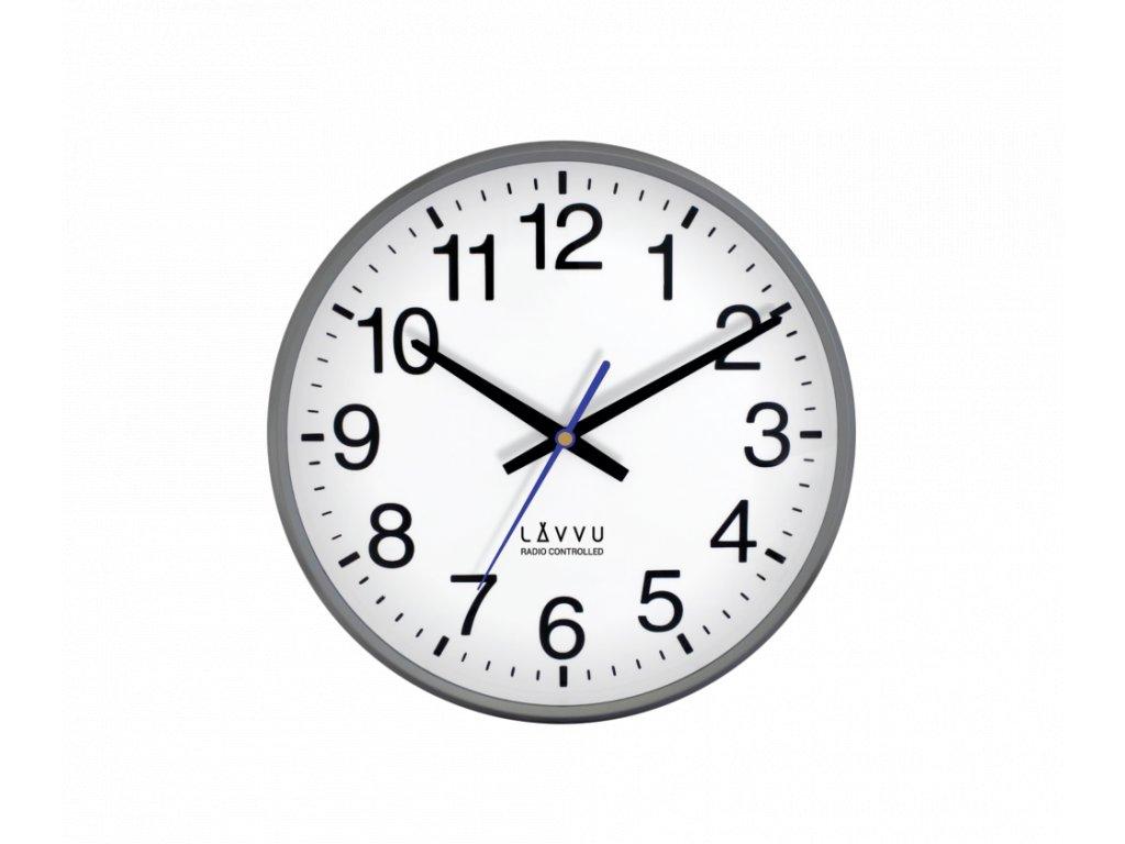Šedé metalické hodiny LAVVU FACTORY Metallic Grey řízené rádiovým signálem
