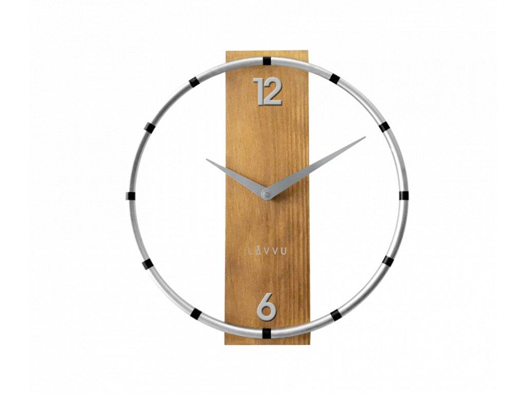 Stříbrno-hnědé dřevěné hodiny LAVVU COMPASS Wood