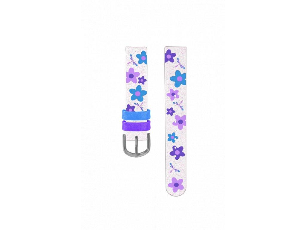 Bílo-fialový květovaný řemínek k dětským hodinkám CLOCKODILE