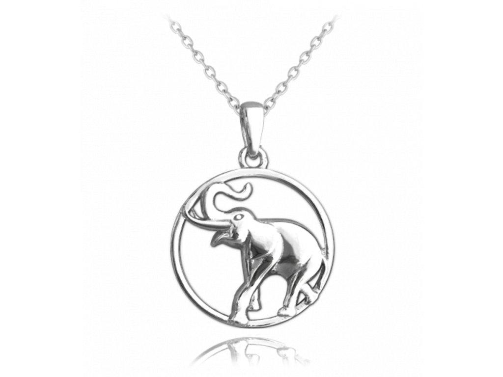 Stříbrný náhrdelník MINET SLON v kroužku