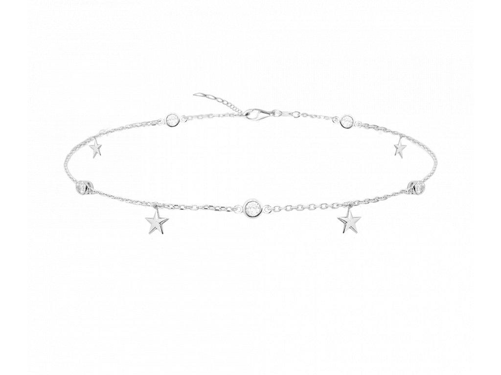 Stříbrný řetízek na kotník MINET s hvězdami a zirkony