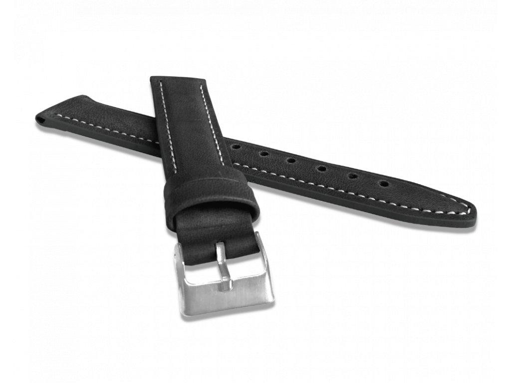 Polstrovaný černý prošitý řemínek LAVVU CLASSIC z luxusní kůže Top Grain - 20
