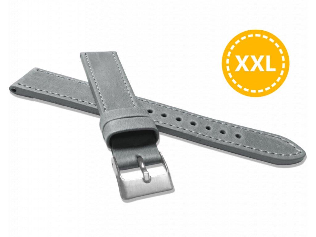 XXL Prodloužený prošitý šedý řemínek LAVVU SPORT z luxusní kůže Top Grain - 20 XXL