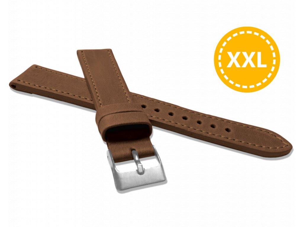 XXL Prodloužený prošitý hnědý řemínek LAVVU SPORT z luxusní kůže Top Grain - 20 XXL